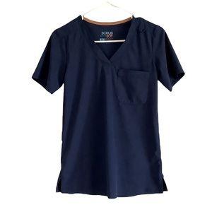 Scrub Joy Navy Blue Wrinkle Resistant Scrub Top XS